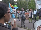 Eritrean youth in Germany demonstrate against the dictatorial PFDJ regime in Eritrea.