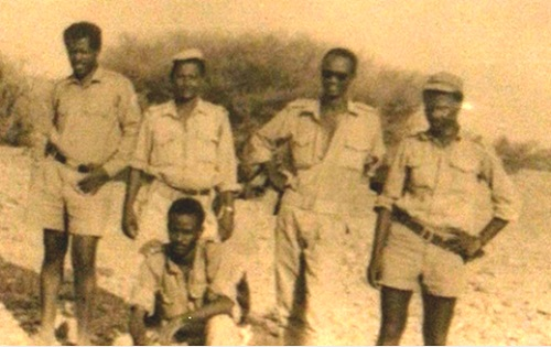 Standing, from right: Ismail Lejajj, Dr. Yahya Jaber, Umar Hajj Idris, Mahmoud Ibrahim Chickini Sitting: Abdullah Suleiman
